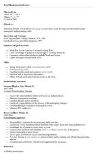 Resume Exles Housekeeping by Housekeeping Resume Template Design