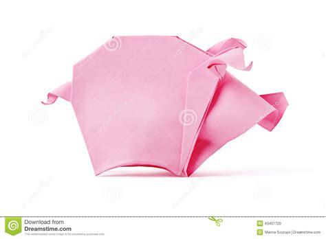 Origami E - origami pink pig stock photo image 43401720