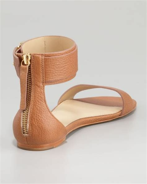 ankle cuff sandals flat zoe gladys ankle cuff flat sandal in brown camel