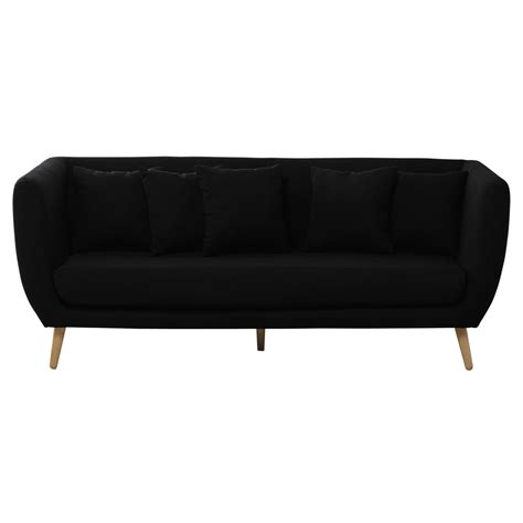 black sofa fabric 3 seater fabric sofa in black clara maisons du monde