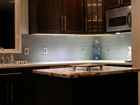 Kitchen With Glass Backsplash by Kitchen Colored Glass Subway Tiles