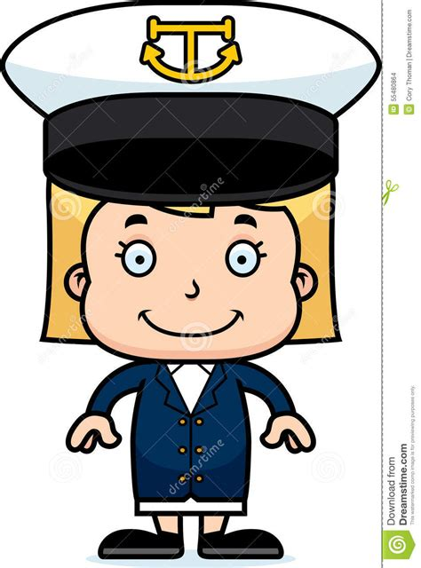 cartoon girl on boat cartoon smiling boat captain girl stock vector image