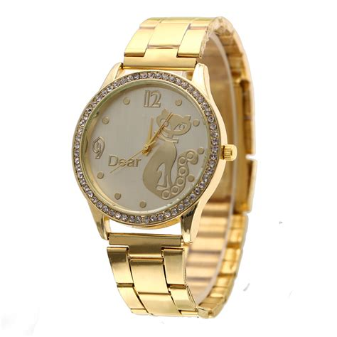 Gold Pattern Style Watch   2015 casual college style gold fox pattern watches watch