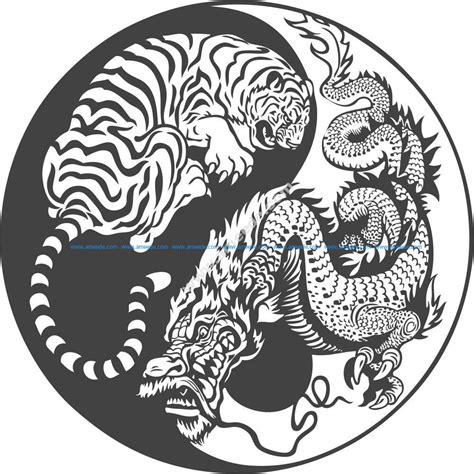 tiger dragon yin  vector art   vector