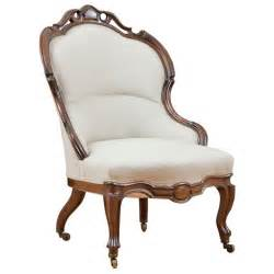 Antique Armchairs For Sale English Victorian Upholstered Slipper Chair In Mahogany C