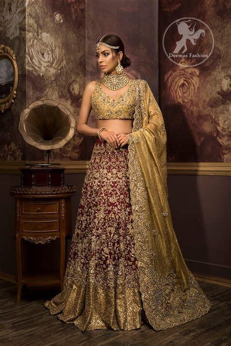 designer bridal wear designer wear bridal collection 2017 dusty gold maroon