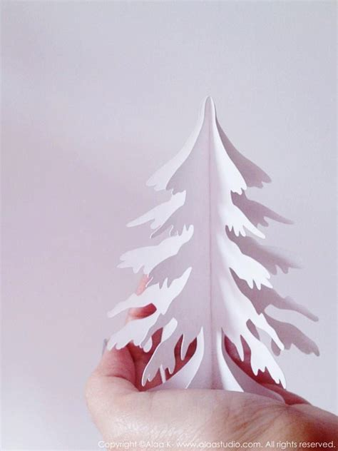 3d paper christmas tree with ribbon i like this stand up tree shape 3d winter snow tree cutting files templates in svg