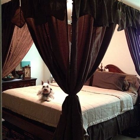 curtain rod canopy bed made a canopy bed out of curtain rods mounted to the