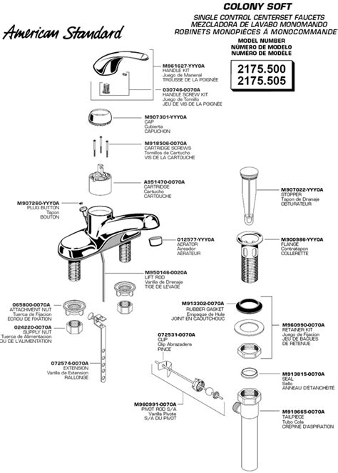 American Standard Bath Faucet Parts by Plumbingwarehouse American Standard Bathroom Faucet Parts For Models 2175 500 And 2175 505