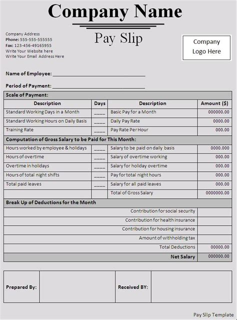 template for a payslip salary slip pay slip template payslip