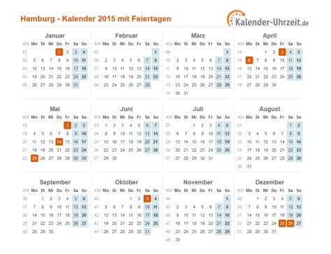 Feiertage Kalender 2015 Feiertage 2015 Hamburg Kalender