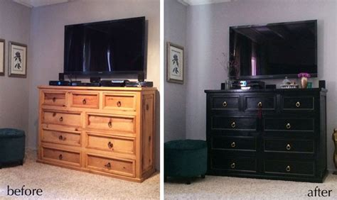 Spray Paint Dresser Black by Dresser Makeover Before After From Rustic To Glam