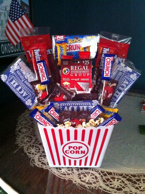 Movie Gift Card Ideas - movie themed basket with a regal gift card in middle gifts pinterest parents