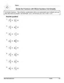 grade 5 divide the fractions math worksheets