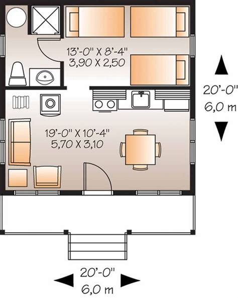 Home Plans Homepw08834 400 Square Feet 1 Bedroom 1 200 Square Guest House Plans