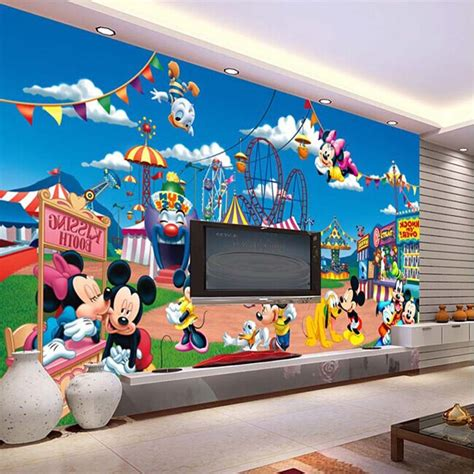 mickey mouse wall mural image mural mickey mouse in playground papel de parede for