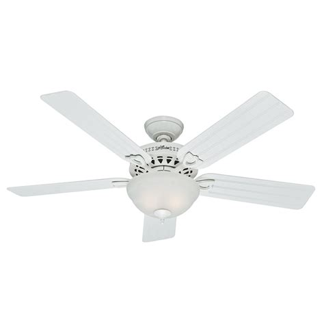 Shop Hunter Beachcomber 52 In White Indoor Outdoor Downrod Ceiling Fan Light Kit White