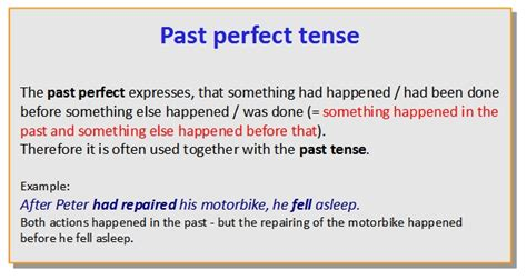 perfecting the past in past perfect tense