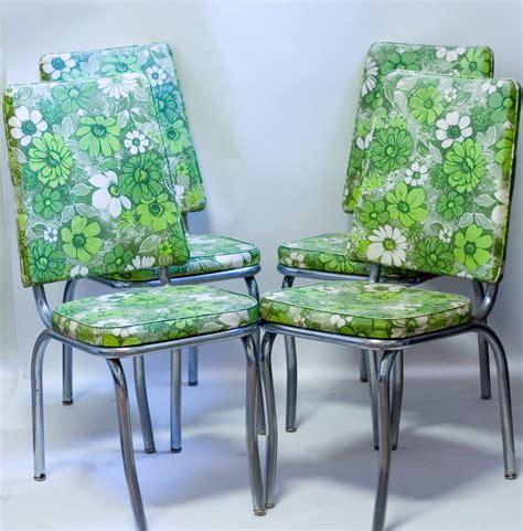 1950 Kitchen Furniture Mid Century Chrome Kitchen Chairs 1950s Green Floral Vinyl