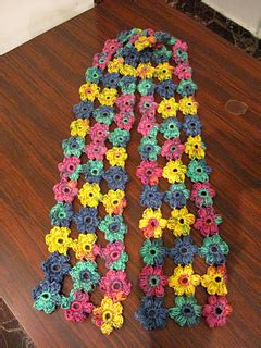 ravelry puff flower scarf pattern by meladoras creations