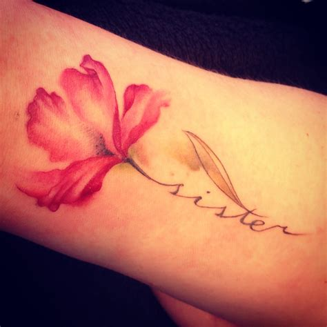 flower with name tattoo actual watercolor look seems a faded