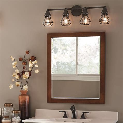 Vanity Lights Bathroom Master Bath Kichler Lighting 4 Light Bayley Olde Bronze Bathroom Vanity Light At Lowes