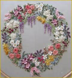 spring garland of silk flowers pattern print silk