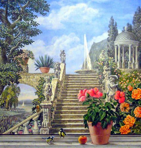wandmalerei berlin juliyart fensterausblick zum italienischen park 2012