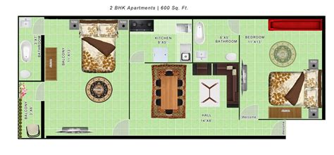 2bhk plan for 500 sq ft 600 sq ft apartment floor plan india latest