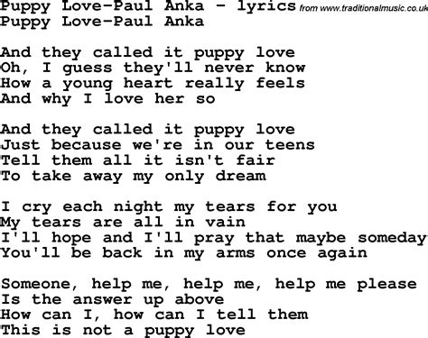 puppy songs song lyrics for puppy paul anka