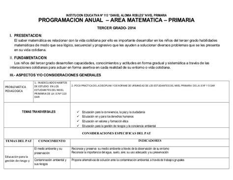 programacion anual de tercer grado de primaria ao 2015 con programacion matematica 3er grado 2014