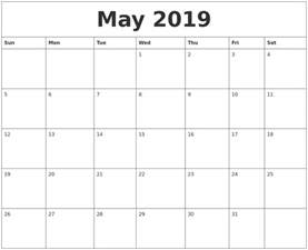 may 2019 month calendar template
