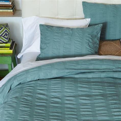 seersucker bedding organic seersucker duvet cover shams pacific west elm