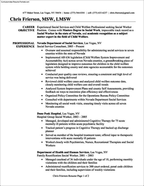 social work resume templates free sles exles