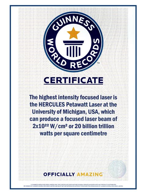 world record certificate template center for ultrafast optical science