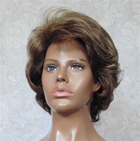 frosted short hair styles short thick wavy brown frosted full synthetic wig wigs