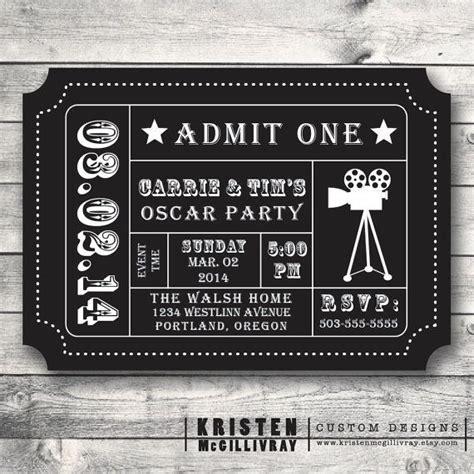 oscar party invitation movie night party movie ticket