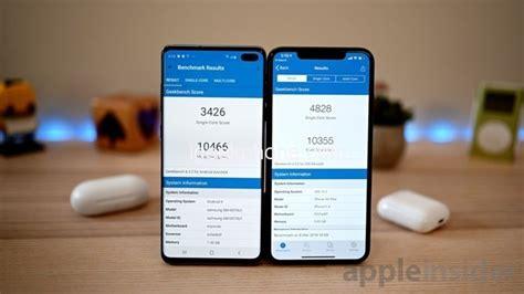 samsung galaxy   apple iphone xs max running score
