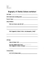 charles dickens biography video worksheet english worksheets biography of charles dickens