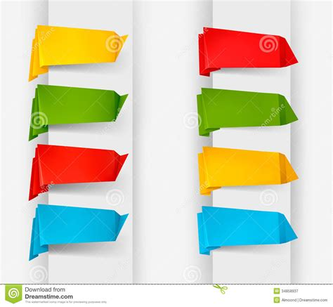 big collection of colorful origami paper banners a royalty