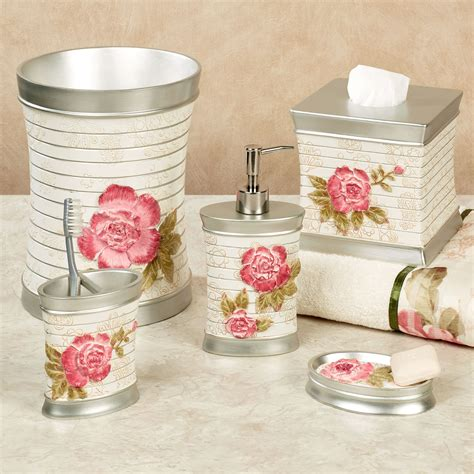rose bathroom accessories spring rose floral bath accessories