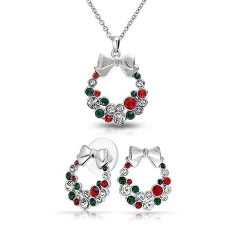 silver plated crystal christmas wreath necklace stud