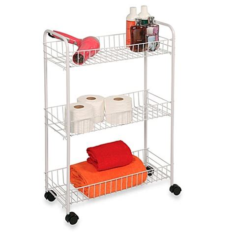 rolling bathroom cart buy 3 tier rolling cart in white from bed bath beyond
