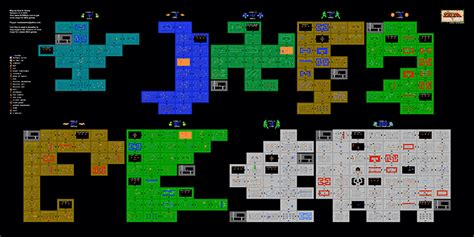 legend of zelda nes map first quest the legend of zelda 1st quest dungeons poster map 24 quot x 12