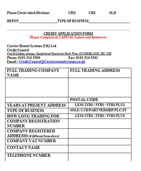 Standard Credit Application Template 43 sle application form templates in doc