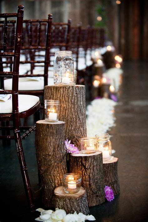 rustic   elegant aisle decor   20th Year Anniversary Party