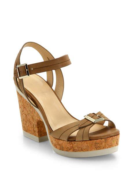 jimmy choo platform sandals lyst jimmy choo nemesis buckle leather platform sandals