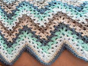 Multi Color Chevron Rug V Stitch Crochet Ripple Afghan Pattern Petals To Picots