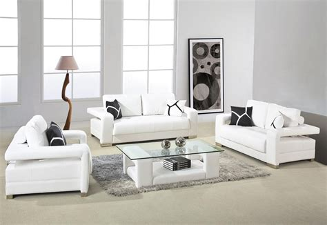 Modern Sofa For Small Living Room White Leather Sofa With Arms And Glass Top Table For Small Living Room Design With Gray Fur Rug