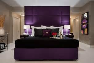 bedroom purple colour schemes modern design: love the faux tiled royal purple headboard